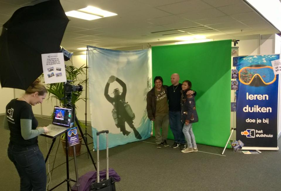 Green screen Photo Booth op een beurs